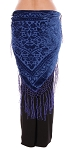 Floral Pattern Burnout Velvet Shawl Hip Scarf with Fringe - ROYAL BLUE