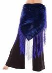 Velvet Tribal Belt Shawl with Medium Length Fringe - ROYAL BLUE