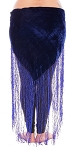 Velvet Tribal Belt Shawl with Long Fringe - ROYAL BLUE