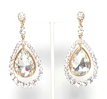 Rhinestone & Crystal Diamond Teardrop Post Earrings - ICE / GOLD