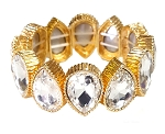 Teardrop Diamond Rhinestone Stretch Cuff Bracelet - GOLD / ICE