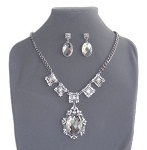 Deluxe Crystal and Rhinestone Belly Dance Jewelry Statement Necklace Set