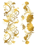 Custom Metallic Temporary Flash Tattoo - GOLD FLORAL