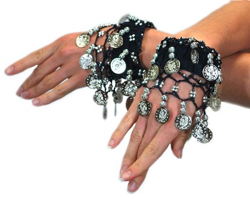 Chiffon Stretch Bracelets with Beads & Coins (PAIR): BLACK / SILVER