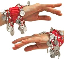 Chiffon Stretch Bracelets with Beads & Coins (PAIR): RED / SILVER