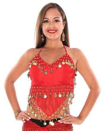 Sheer Chiffon Belly Dance Halter Top with Coins - RED / GOLD