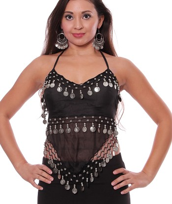 Sheer Chiffon Belly Dance Halter Top with Coins - BLACK / SILVER