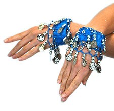 Chiffon Stretch Bracelets with Beads & Coins (PAIR): AZURE BLUE / SILVER