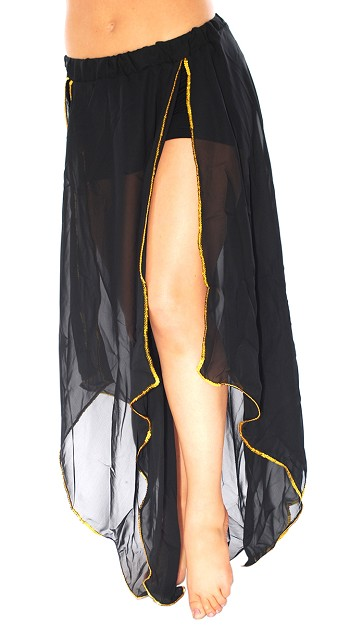 Belly Dance Petal Skirt with Sequin Trim - BLACK / GOLD