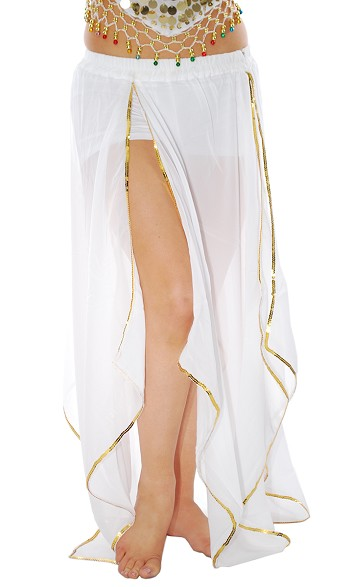 Belly Dance Petal Skirt with Sequin Trim - WHITE / GOLD