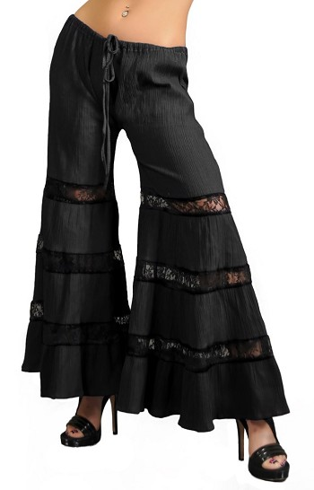 Tribal Dance Pants with Lace Insets - BLACK