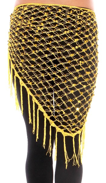 Crochet Net Shawl Scarf with Square Sequins & Fringe - YELLOW / GOLD