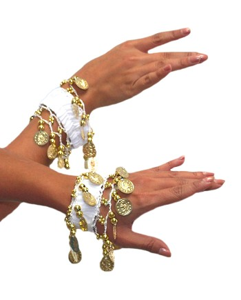 Chiffon Stretch Bracelets with Beads & Coins (PAIR): WHITE / GOLD