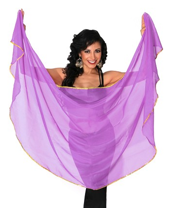 Petite Semi-Circle Chiffon Belly Dance Veil with Sequin Trim - PURPLE / GOLD