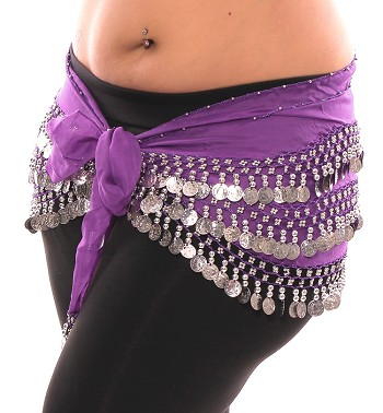 1X - 4X Plus Size Chiffon Belly Dance Hip Scarf with Coins - PURPLE / SILVER