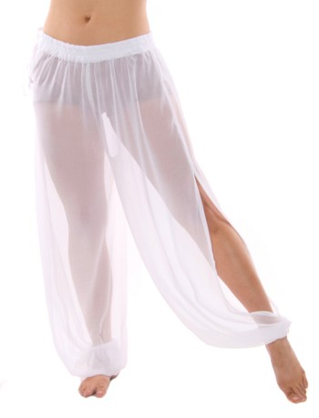 Sheer Belly Dance Harem Pants with Leg Slits Side Tie - WHITE