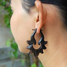 Wood Lily Hoops Earrings by Coco Loco - BLACK