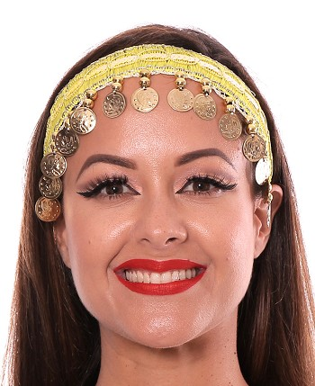 Sequin Belly Dance Costume Headband with Coins - YELLOW / GOLD