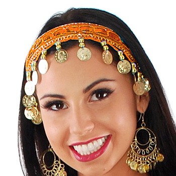 Sequin Belly Dance Costume Headband with Coins - ORANGE / GOLD
