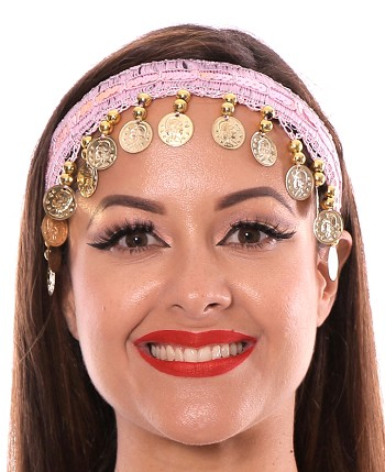 Sequin Belly Dance Costume Headband with Coins - PINK / GOLD