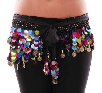 Coin Hip Scarf with Multi-Colored Paillettes - BLACK / GOLD