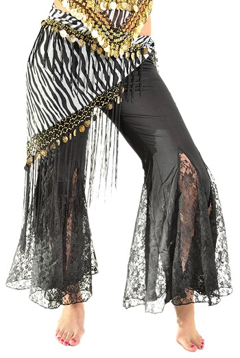 Triangle Chiffon Hip Scarf with Coins & Fringe - ZEBRA / GOLD