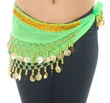 Toddler Size DELUXE Belly Dance Coin Hip Scarf - LIME / GOLD