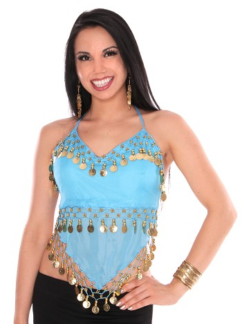 Sheer Chiffon Belly Dance Halter Top with Coins - BLUE TURQUOISE / GOLD