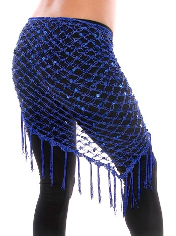 Crochet Net Shawl Scarf with Square Sequins & Fringe - ROYAL BLUE