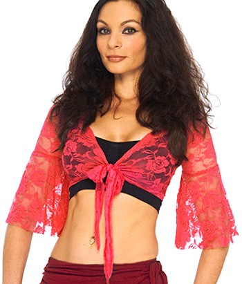 Lace Bell Sleeve Choli Top - DARK PINK / CHERRY