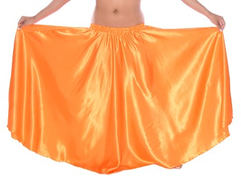 Satin Belly Dance Costume Skirt - ORANGE