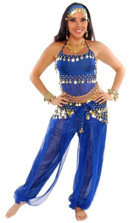 Belly Dancer Harem Genie Costume - ROYAL BLUE / GOLD