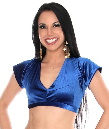 Short Sleeve Velvet Tribal Choli Top - BLUE