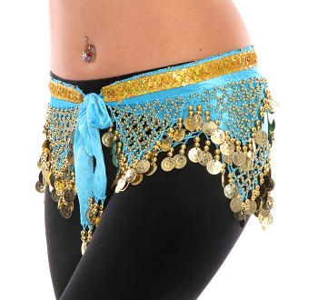 Velvet Pyramid Belly Dance Hip Scarf with Beads & Coins - BLUE TURQUOISE / GOLD