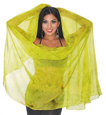 Semi-Circle Chiffon Belly Dance Veil - FAIRY MOSS