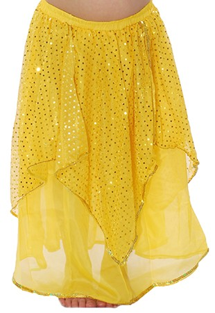 Kids Chiffon Sparkle Belly Dancer Costume Skirt - YELLOW