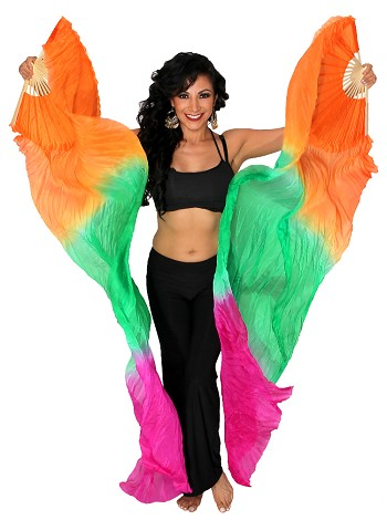 Silk Fan Veils Belly Dance Prop (Set of 2) - ORANGE / GREEN / FUCHSIA