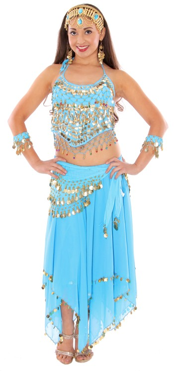 Arabian Belly Dancer Costume with Coins & Paillettes - BLUE TURQUOISE