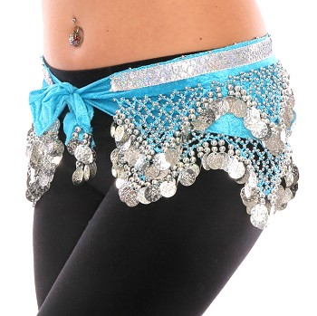 Velvet Pyramid Belly Dance Hip Scarf with Beads & Coins - BLUE TURQUOISE / SILVER