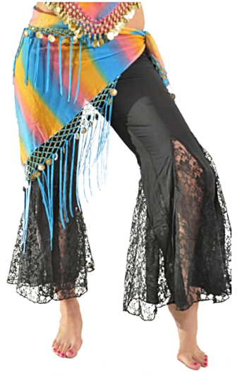 Triangle Chiffon Hip Scarf with Coins & Fringe - BLUE RAINBOW / GOLD