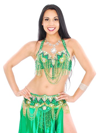 Classic Beaded Cabaret Belly Dance Costume with Fringe - GREEN