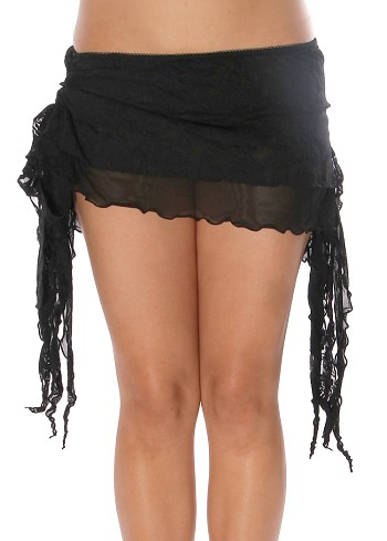 2-Layer Ruched Mesh & Lace Tribal Fusion Belly Dance Overskirt - BLACK