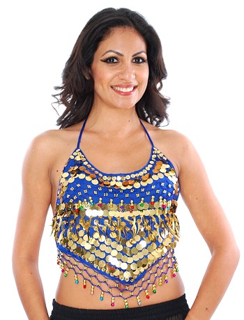 Chiffon Belly Dance Bollywood Costume Halter Top with Paillettes & Bells - ROYAL BLUE