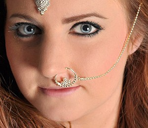 Bollywood Jewelry Ornate Ear to Nose Chain - SILVER
