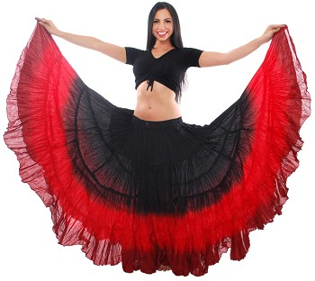 25 Yard Tribal Gypsy Belly Dance Skirt - BLACK / RED / BURGUNDY