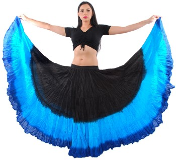 25 Yard Tribal Gypsy Belly Dance Skirt - BLACK / TURQUOISE / BLUE