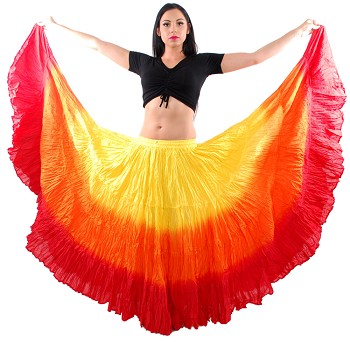 25 Yard Tribal Gypsy Belly Dance Skirt - YELLOW / ORANGE / RED