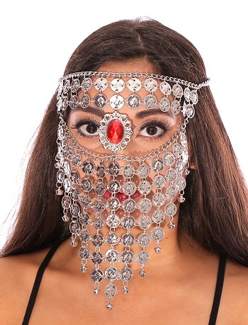 Bedouin Style Belly Dancer Coin Full Face Veil with Red Gem - SILVER