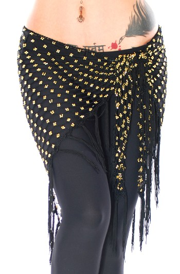 Crochet Beaded Shawl Hip Scarf with Fringe - BLACK / GOLD