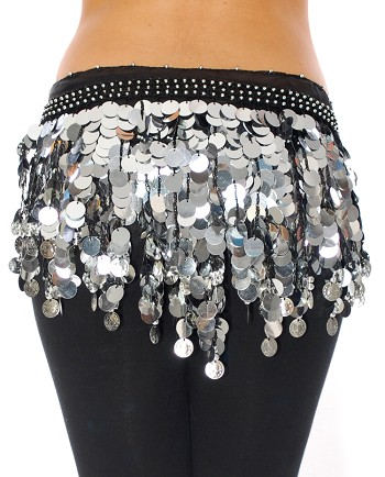 Belly Dance Hipscarf with Paillette Fringe & Coins - BLACK / SILVER